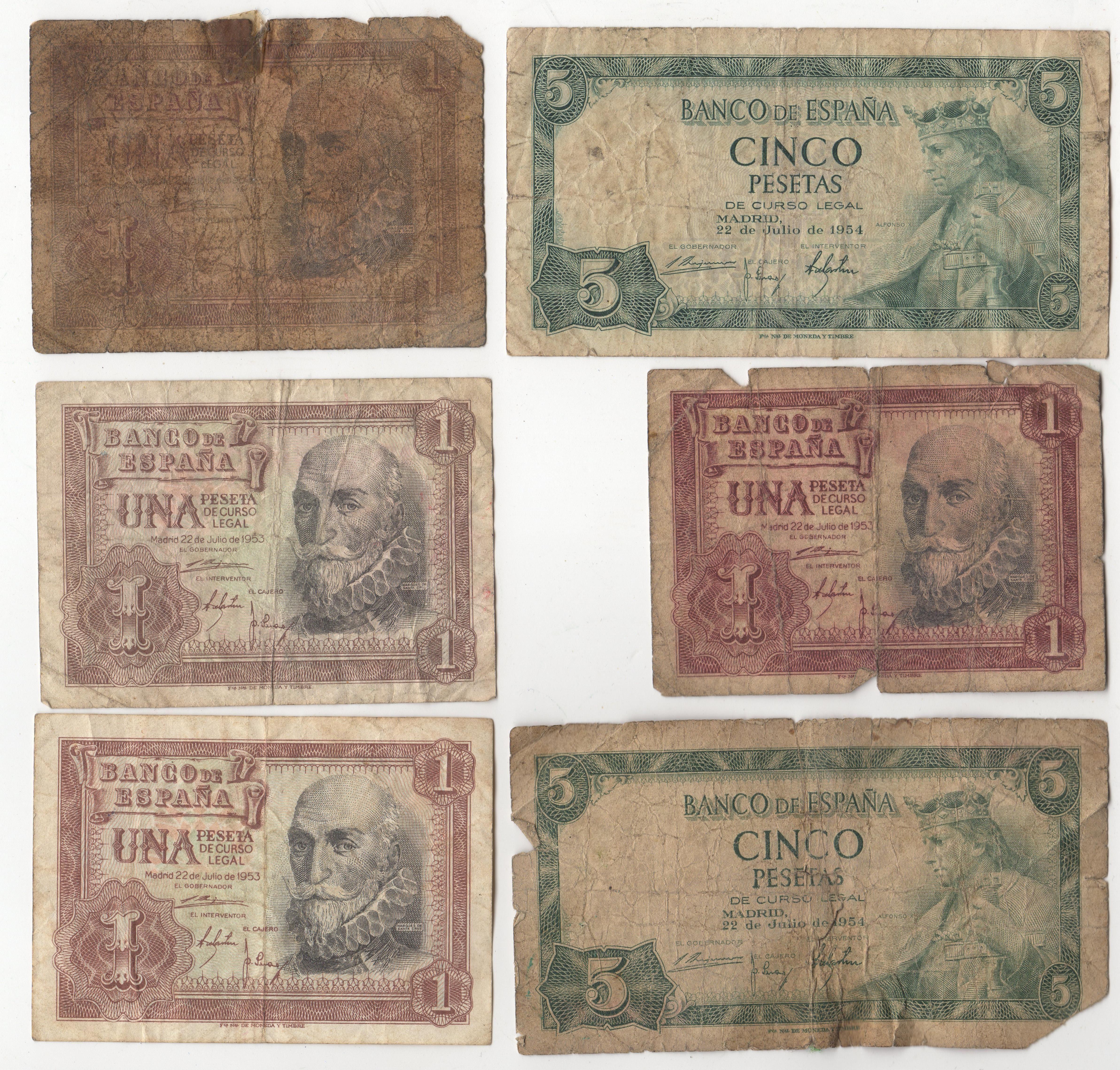 Mix Of Spain 1 & 5 Peseta Bank Notes | Pennies2Pounds