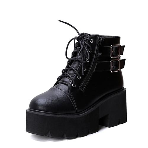 lace up Boots 2019 Fashion Thick Heel Ankle Boots Women High Heels Autumn Winter Woman Shoes punk boots platform shoes YMA413 is part of Punk boots, Womens boots ankle, Lace up wedge boots, Heeled ankle boots, High heel boots, Chunky black boots - 4 ) Leather StyleSoft Leather GenderWomen Boot TypeFashion Boots