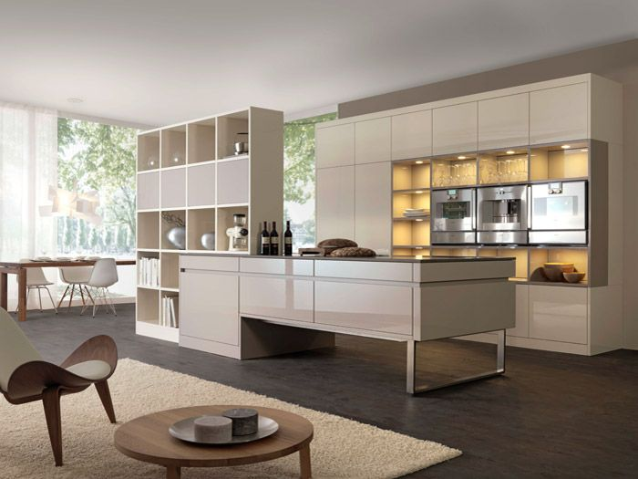 Leicht German kitchens in style LARGO-LG color Sand Grey high gloss ...