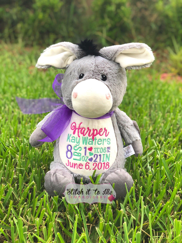 Embroidered Donkey, Stuffed Donkey, PersonalizedDonkey
