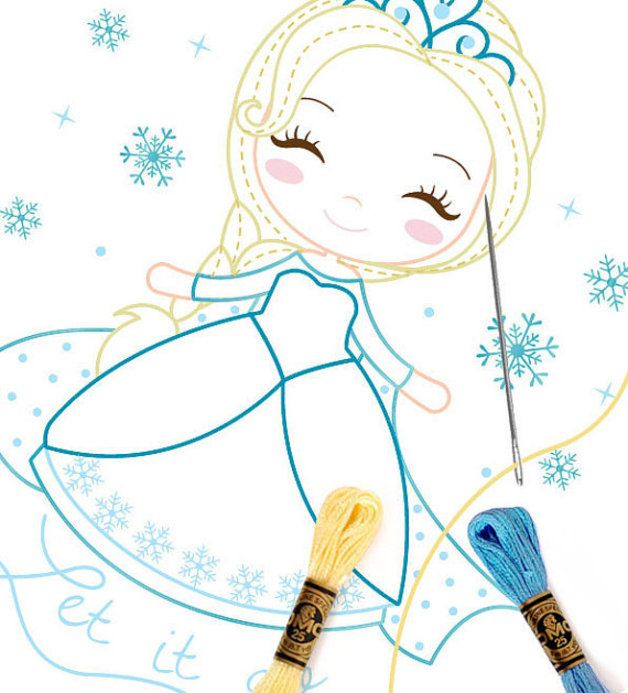 Patrones para bordar - Frozen Hand Embroidery - Hand Paint Pattern ...