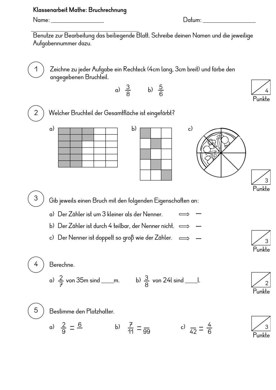 Klassenarbeit Mathe Bruchrechnung – Unterrichtsmaterial im Fach ...