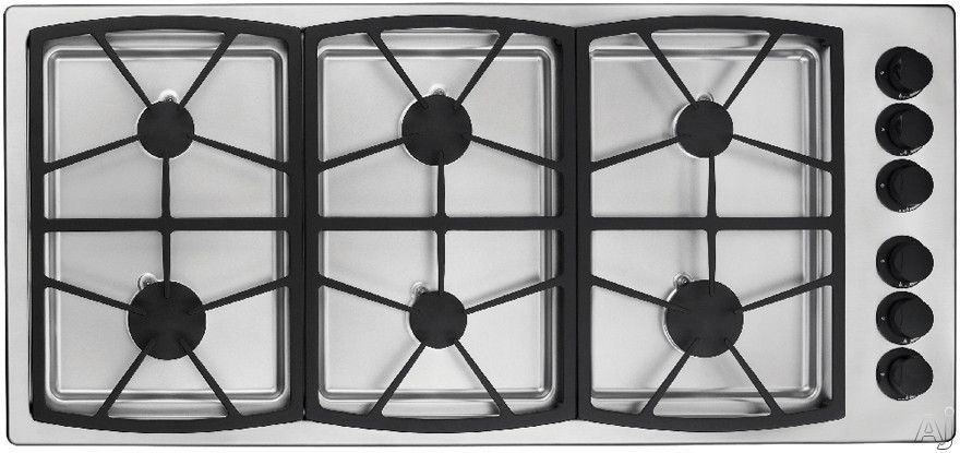 """Dacor SGM466SH 46"""" Gas Cooktop with 6 Sealed Burners, Three 13"""" Platform Grates and Smart Flame Temperature Management: Stainless Steel/Natural Gas/High Altitude"""