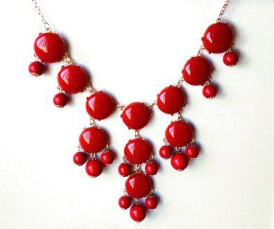 Color Bubble BIB Statement Fashion Necklace - Red: Jewelry: Amazon.com