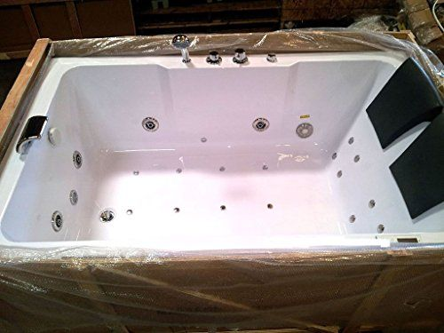 2 Two Person Indoor Whirlpool Massage Hydrotherapy White Bathtub Tub With Bluetooth Free Remote Control And Water