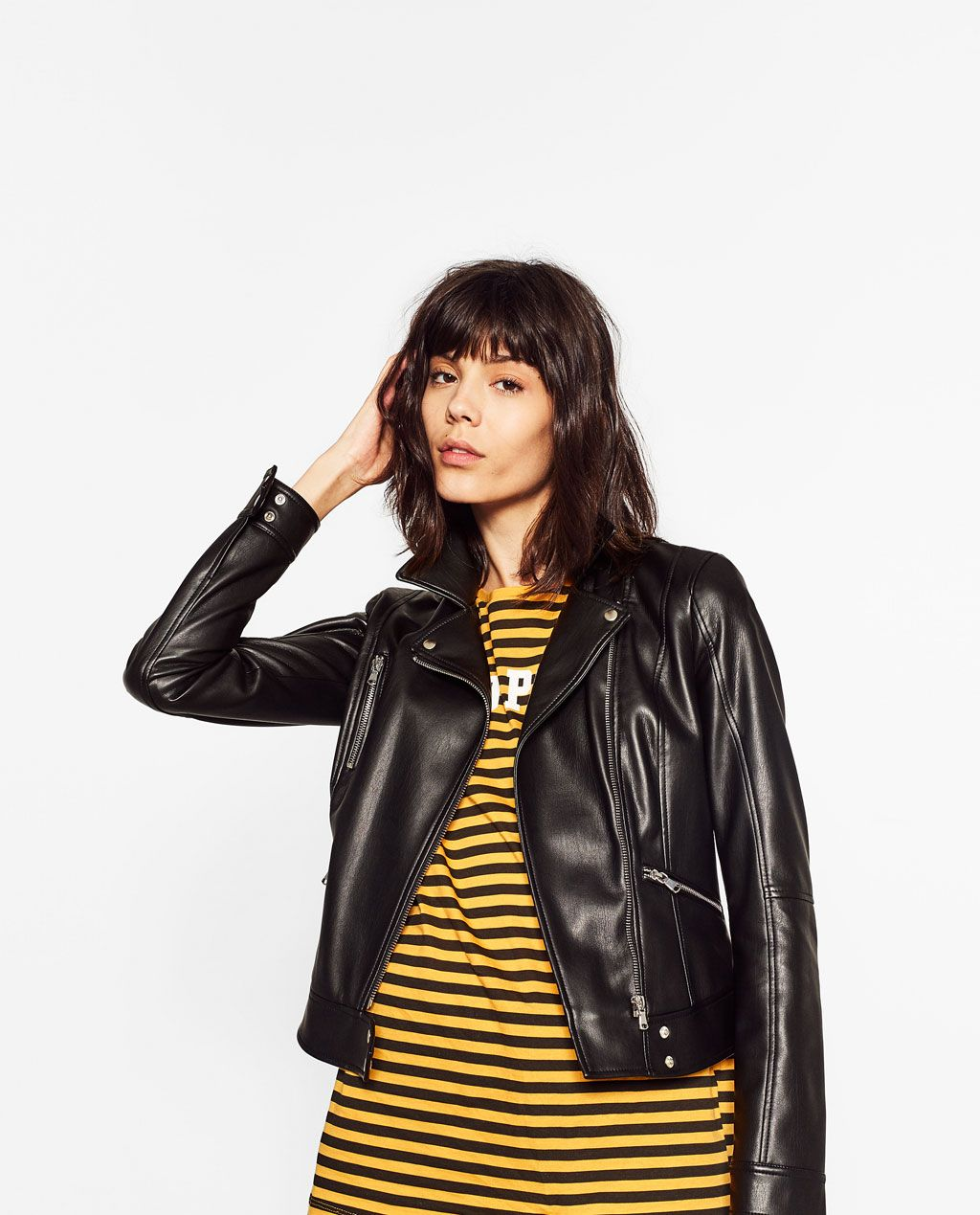 Image 1 of FAUX LEATHER BIKER JACKET from Zara (With