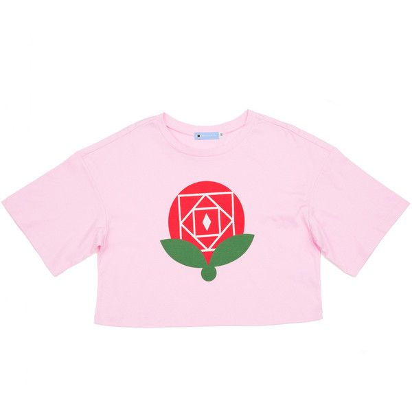 ROSE T-SHIRT ❤ liked on Polyvore featuring tops, t-shirts, rosette top, pink tee, pink t shirt, rose t shirt and rose tops