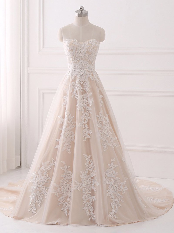 Lace wedding dress champagne  Aline Wedding DressesLace Wedding DressElegant Bridal Gown
