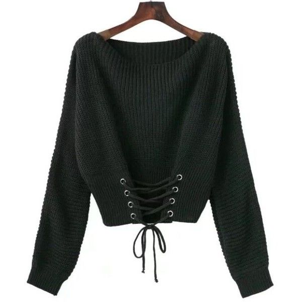 00eb2c950f Winter Women long sleeve short Sweaters Pullovers Elegant lace up ...
