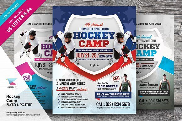 Hockey Camp Flyer Templates Flyer Template And Template