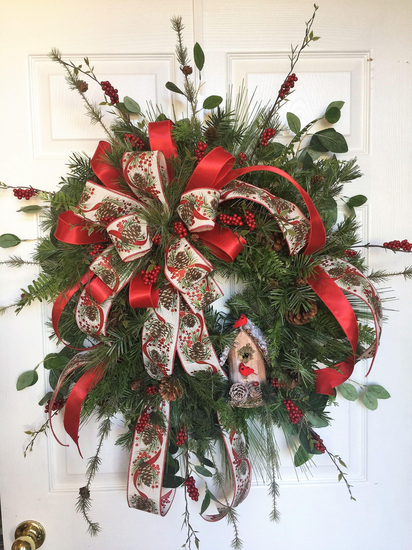 Traditional Christmas Wreath, Lg Christmas Wreath With Birdhouse, Christmas Wreath