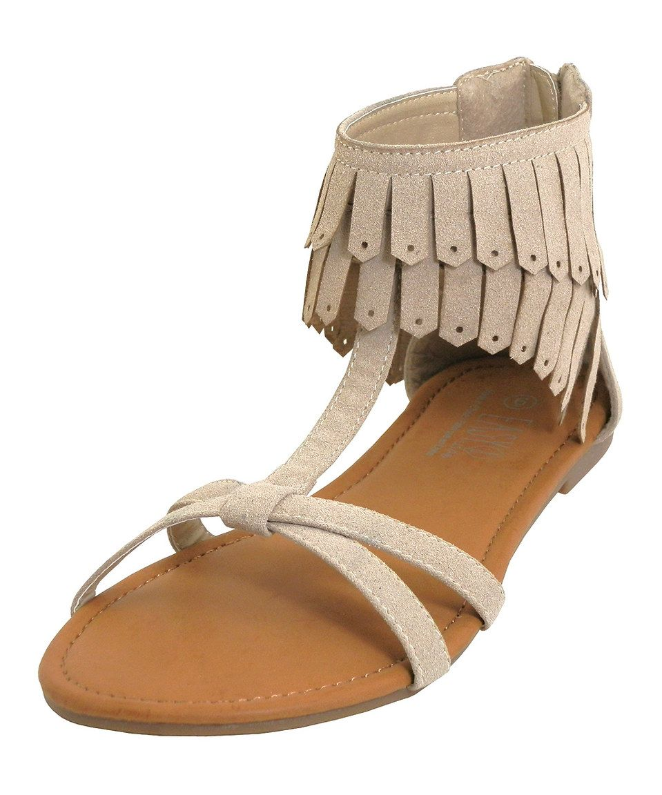 Another great find on #zulily! Easy Shoes Beige Fringe Sandal by Easy Shoes #zulilyfinds
