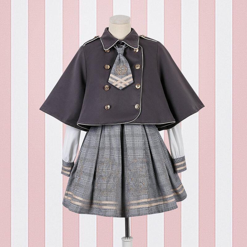 Japanese Embroidered Plaid Dress Woolen Cloak Jacket Set SE20611