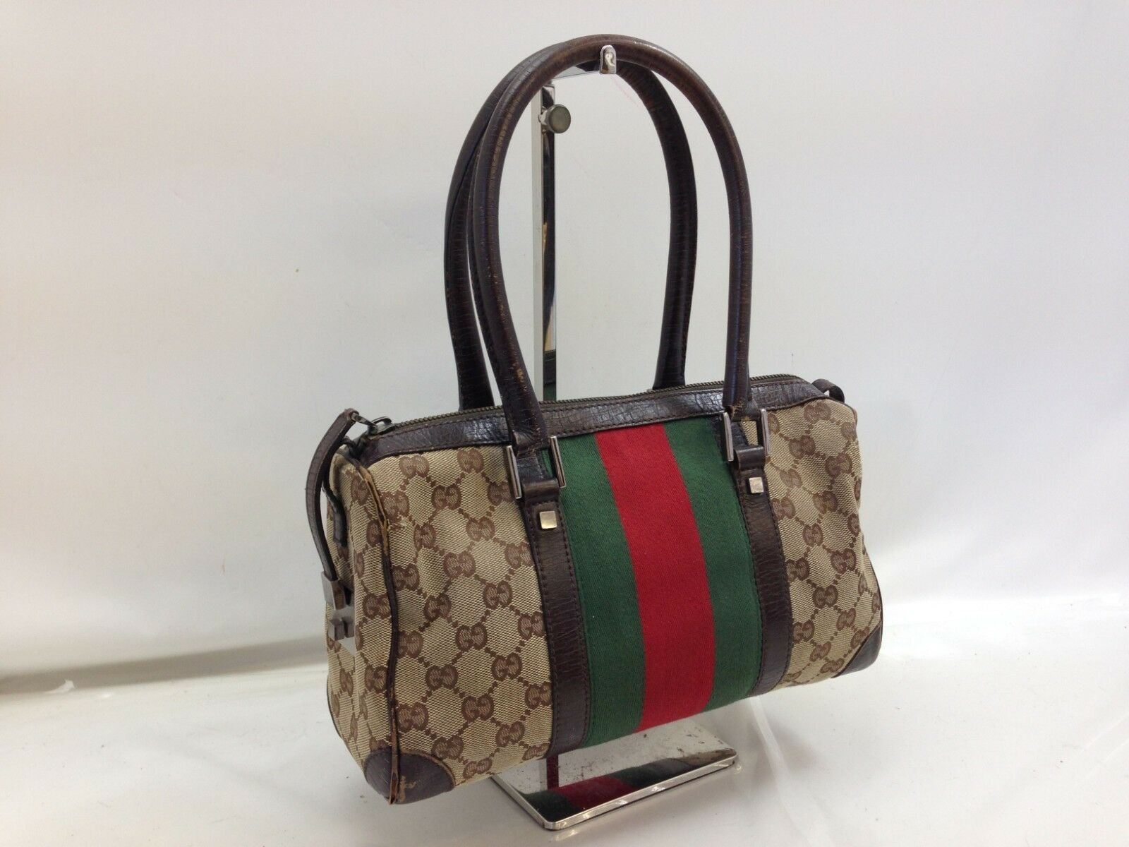303f147e066963 #FORSALE Authentic Gucci GG Pattern Boston Hand Bag Brown Vintage 8L210260Y  - $28