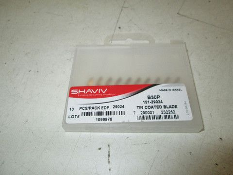 Pack of 10 Shaviv 29024 Blade B30 Coated Tin Blades