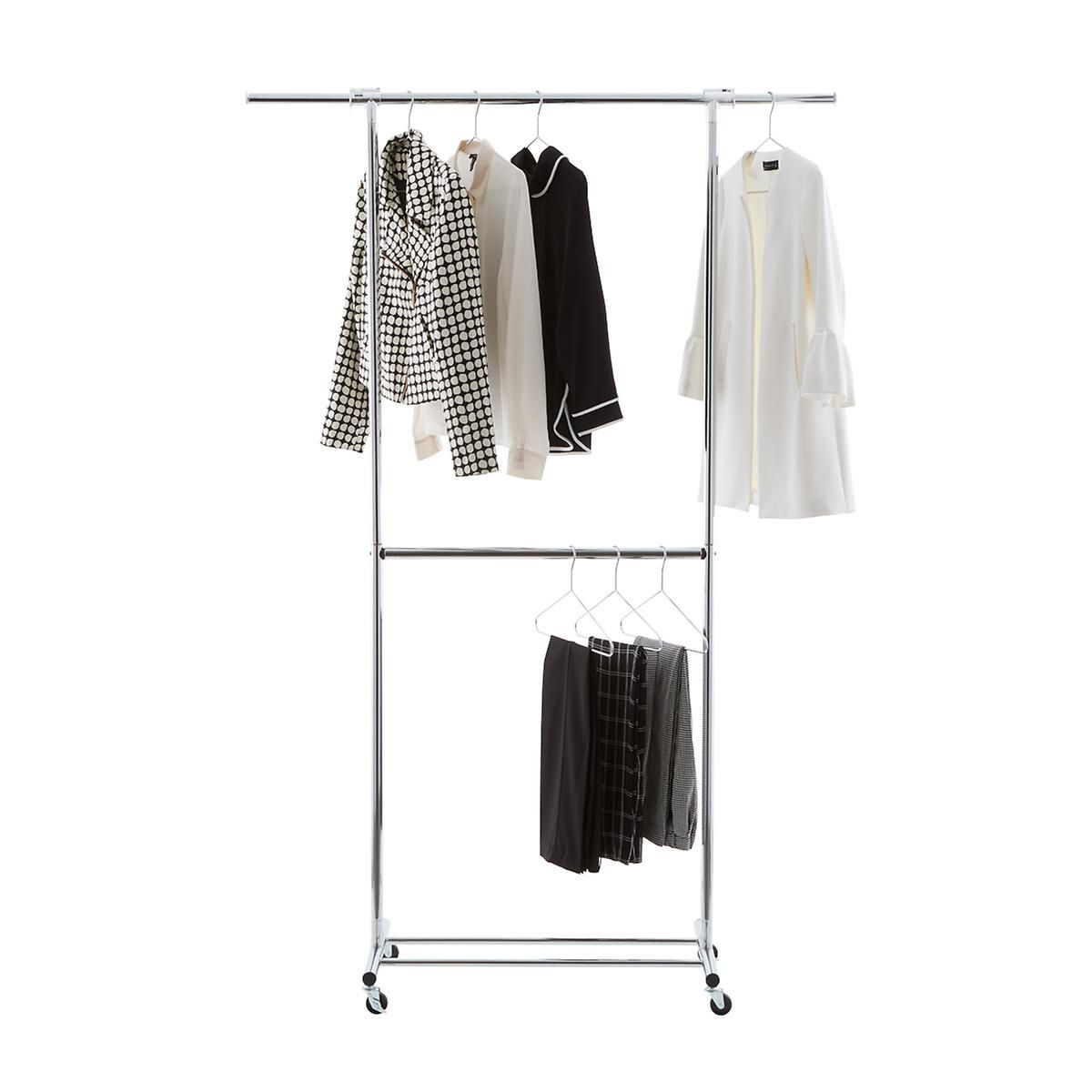 Chrome Metal Double Hang Clothes Rack Clothing Rack Double Hung