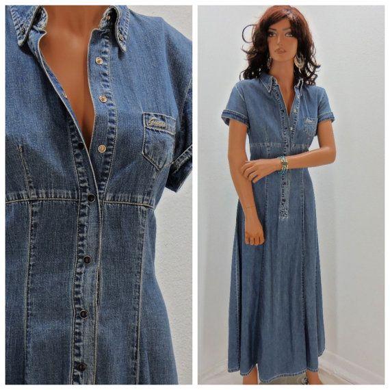 Vintage Denim Maxi Dress 80 S Guess Jean Dress Size S M 80 S Guess Jean Dress Long Boho Jean Dress Retro C Vintage Denim Denim Maxi Dress Sewing Dresses