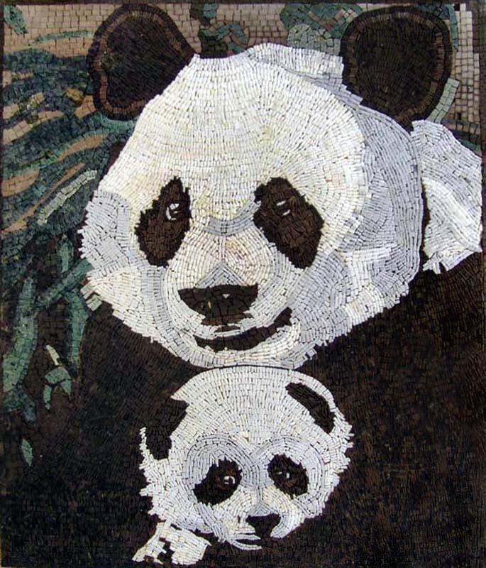 Fliesen Wildes Muster: Mosaic Art Design - Two Pandas