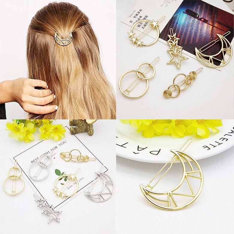 Women/'s Girls Geometric Metal Hair Clips Barrette Slide Grips Hair Clip Hairpins