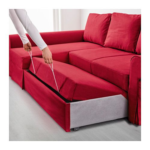 backabro convertible avec m ridienne nordvalla rouge habitacion sofa bed with chaise ikea. Black Bedroom Furniture Sets. Home Design Ideas