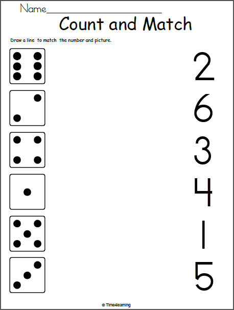 Math Worksheets For Kindergarten Match 1 To 6 Madebyteachers Kindergarten Math Worksheets Math Worksheets Kindergarten Math Worksheets Printables