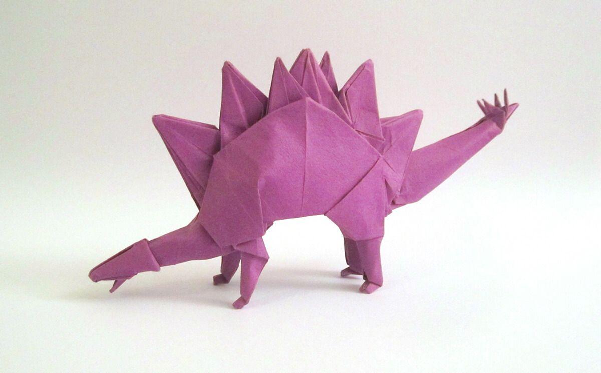 Photo of Stegosaurus designed and folded by Tetsuya Gotani
