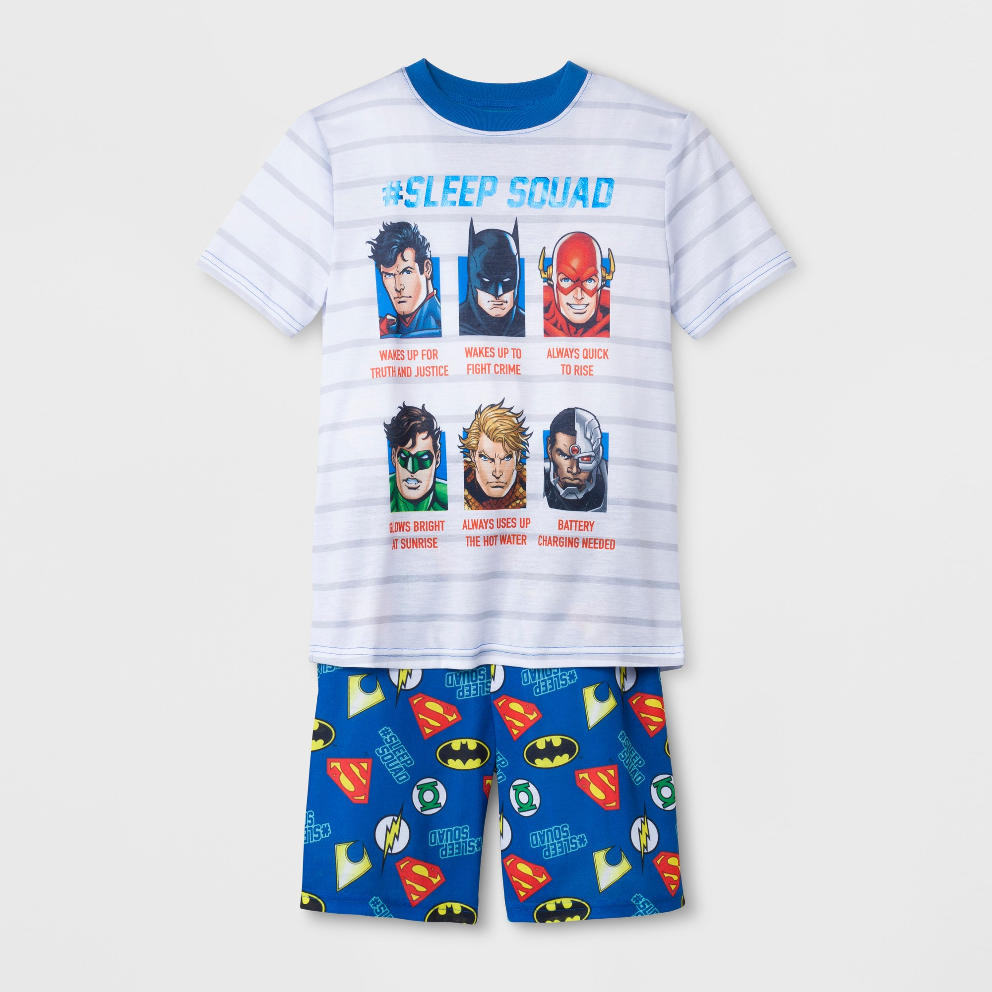 1d891569b7 Boys' DC Super Heroes Justice League 2pc Pajama Set with Shorts - Blue L