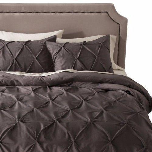 modern master bedroom with threshold seersucker duvet cover set | Threshold 2 Pintucked Charcoal Gray King Pillow Shams ...