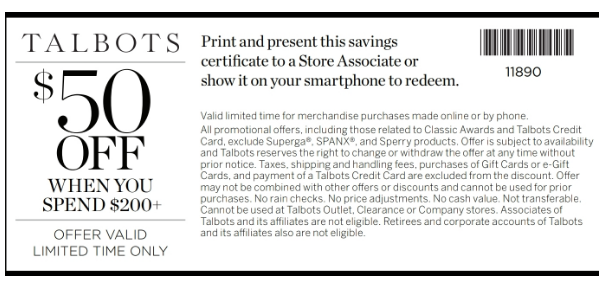 image about Talbots Printable Coupon referred to as Talbots Coupon: $50 Off $200+ (In just-Shop) Printable Coupon codes