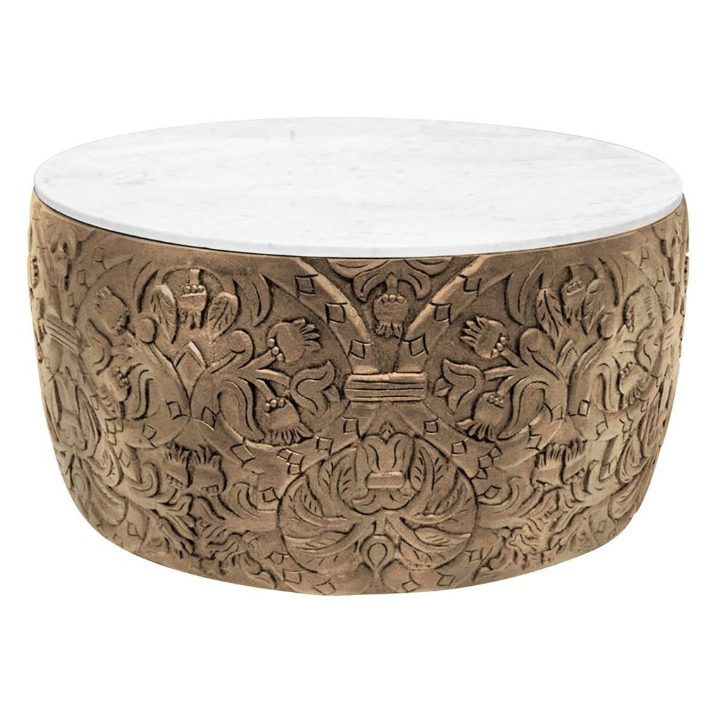 Celtic Carved Bohemian Coffee Table Drum Coffee Table Coffee Table Wood Hammered Coffee Table [ 1000 x 1000 Pixel ]