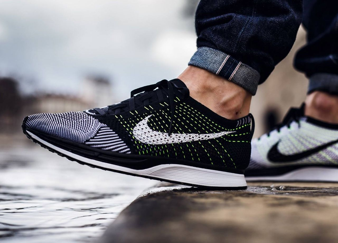 ad924e81870 Sweetsoles. Sweetsoles Nike Flyknit Racer Black ...