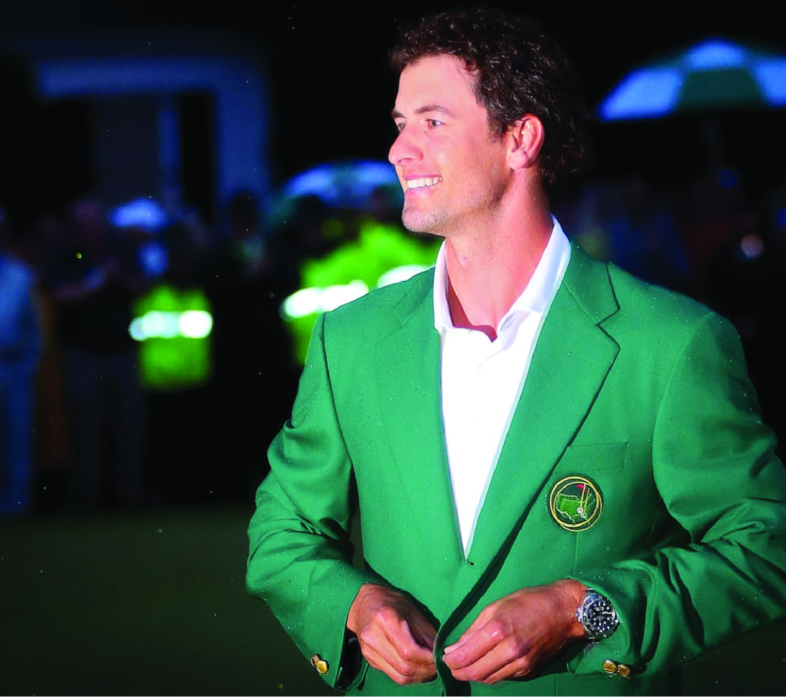 Adam Scott with his Green Jacket and Rolex watch.