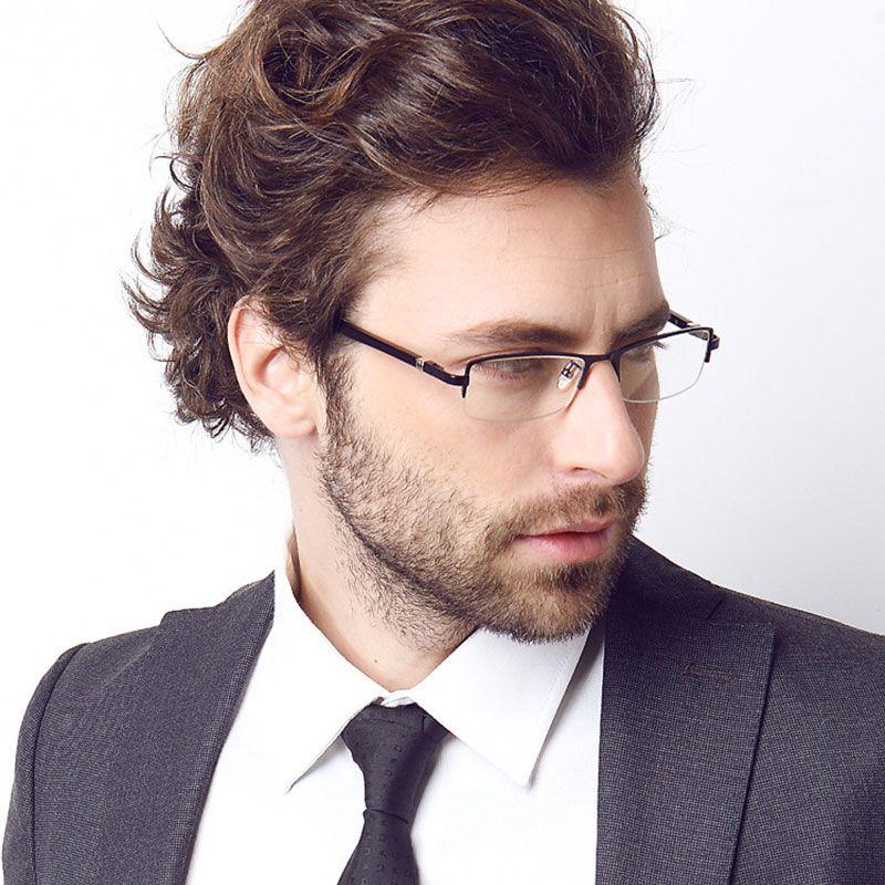 0265b83892a2 Titanium Business Men Eyeglasses Optical Frame Prescription Semi-Rimless  Glasses Spectacles for Business Eyewear