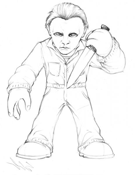 Michael Myers Drawings Sketch Coloring Page