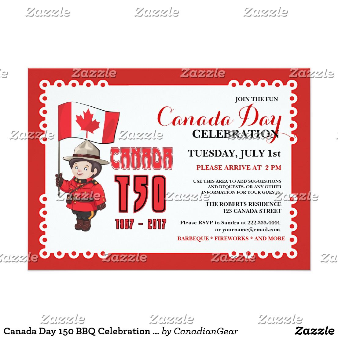 Canada Day 150 BBQ Celebration Invitation | Pinterest | Celebrations