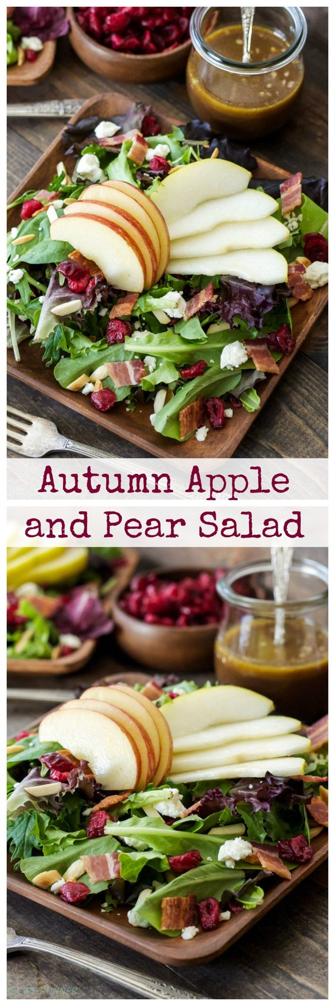 Autumn Apple and Pear Salad: Sweet pears and apples paired with salty feta and bacon are the perfect combination in this autumn inspired salad! #weightlossmotivation
