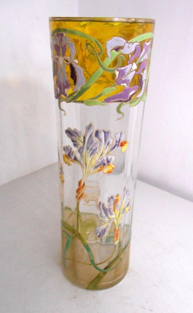 Tr s grand vase verrre maill art nouveau legras montjoie for Deco quoi mettre dans un grand vase