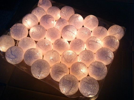 35 cotton ball light 12 feet christmas light porch garland patio ...