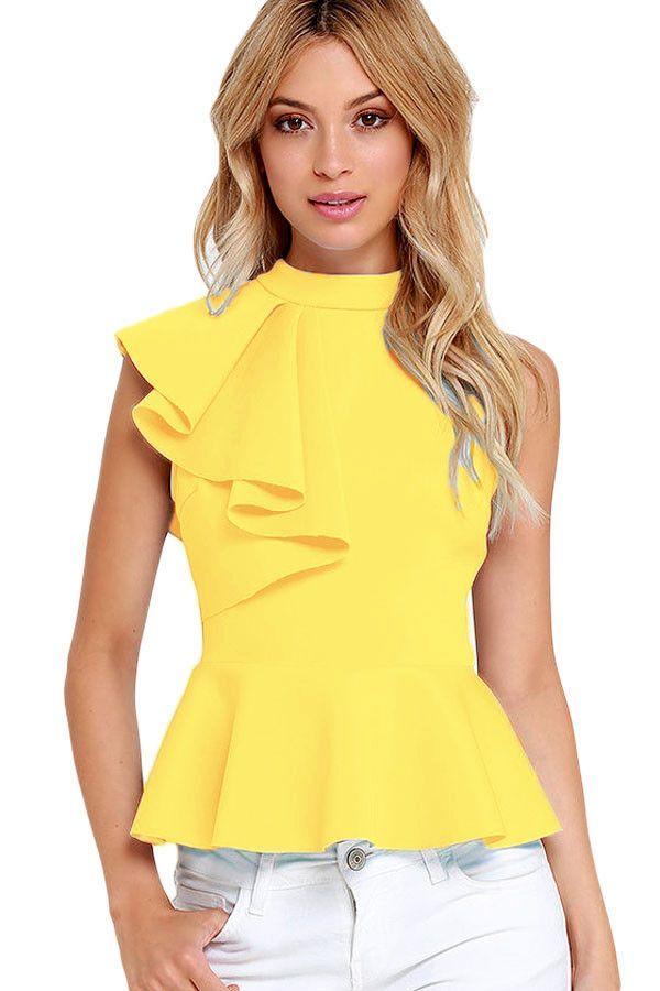 272323398b1f30 Fashion Summer Women Clubwear Turtleneck Asymmetric Ruffle Side Sleeveless  Peplum Top Feminino Camiseta Mujer Sleeveless Turtleneck