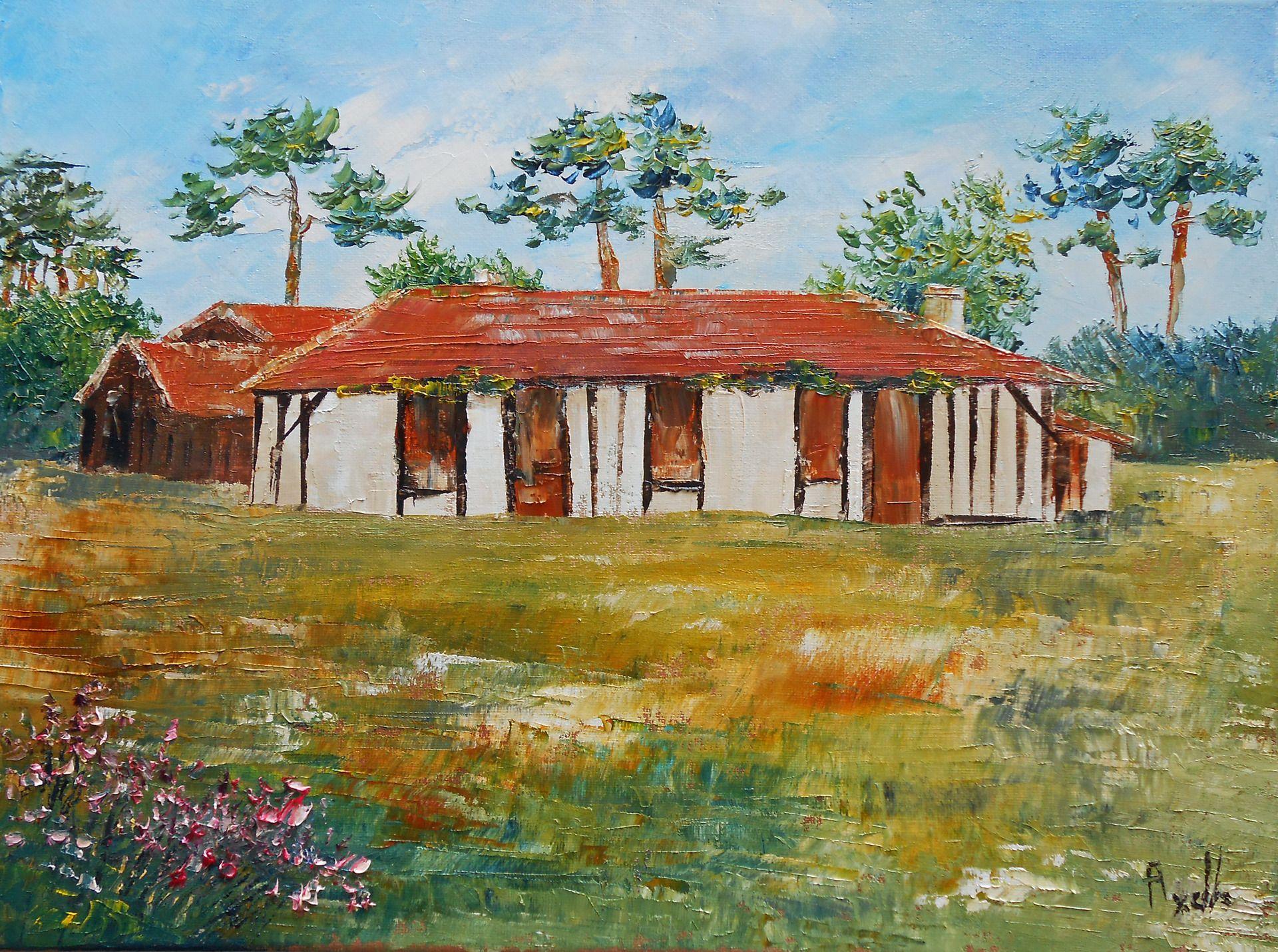 tableau la maison landaise antoine rose axelle bosler peintures par peintures axelle bosler. Black Bedroom Furniture Sets. Home Design Ideas