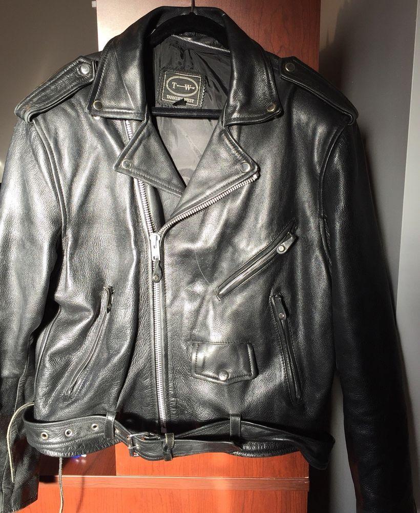 c452c649a Vintage Tannery West Mens leather biker jacket black Size L with ...