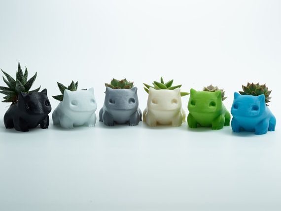 Bulbasaur Planter Pot Hand-Made Succulent Flowers Honey Decoration 3D Printed 12 Colors