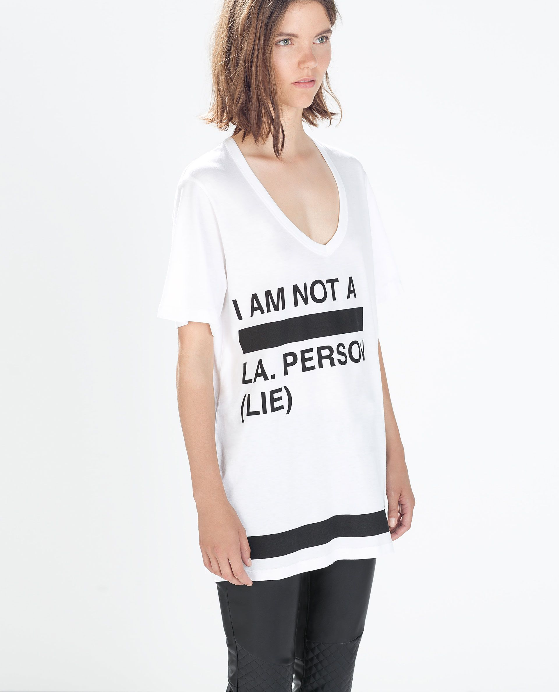 dc54d1227c SLOGAN T-SHIRT from Zara | Black-ish & White-ish shit | Women slogan ...