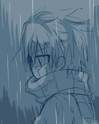 Natsu Dragneel Sad Crying Cute Chibi Raining Young Childhood