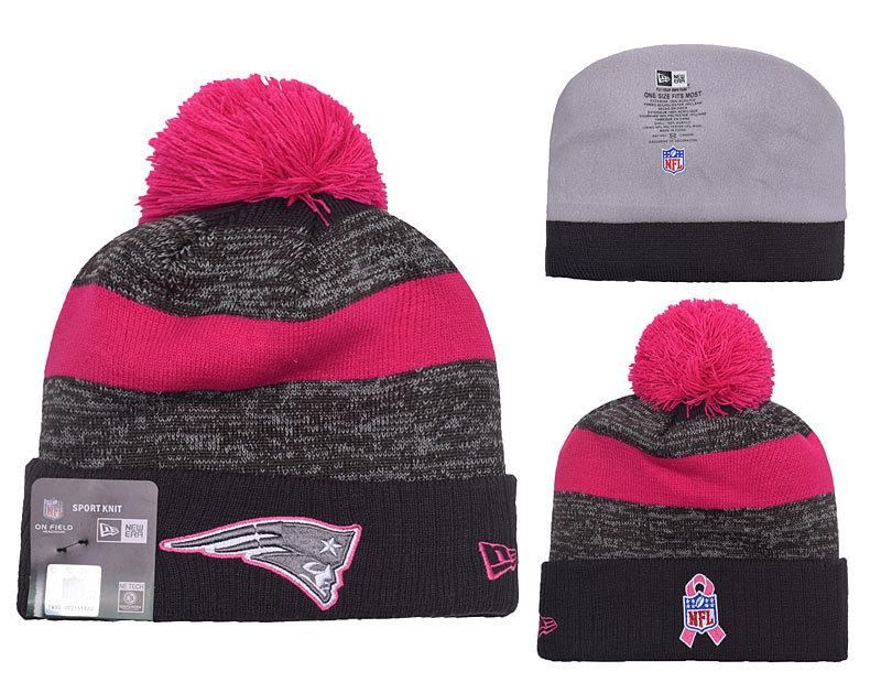 22999bc8fd9 Men s   Women s New England Patriots New Era Heather Gray 2016 Breast  Cancer Awareness Sideline Cuffed Pom Knit Beanie Hat