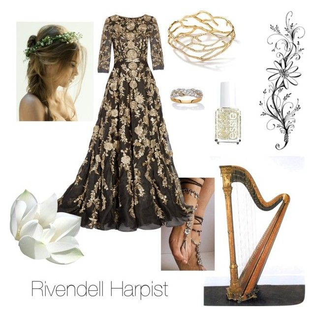 """Rivendell Harpist - Bard of Imladris - Tolkien - Lord of the Rings - Middle Earth"" by ginger-rogers ❤ liked on Polyvore featuring Ippolita, Marchesa, Essie and Palm Beach Jewelry"