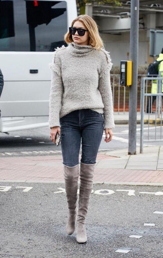 Gigi Hadid wearing Stuart Weitzman The Highland Boots #street #style