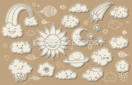 doodle céu bonito — Ilustração de Stock #19965215