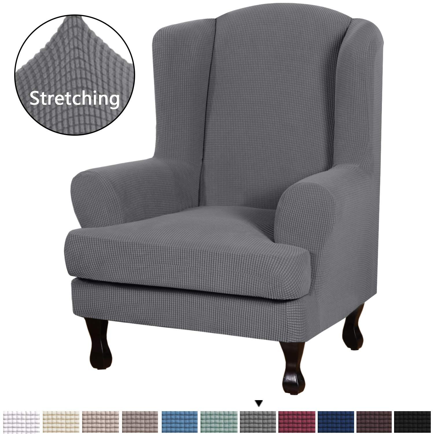 H Versailtex Durable Soft High Stretch Jacquard 2 Piece Wingback Chair Cover Charcoal Gray Couch Covers Lycra F Slipcovers Wingback Chair Wingback Chair Covers