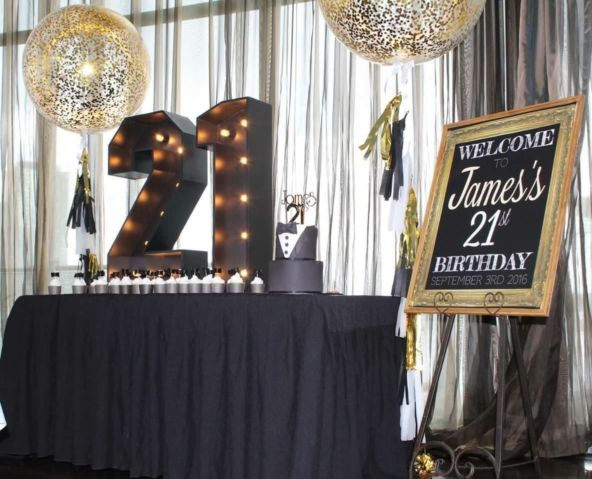 Fun Elegant Styling For A 21st Birthday Themed In Black And